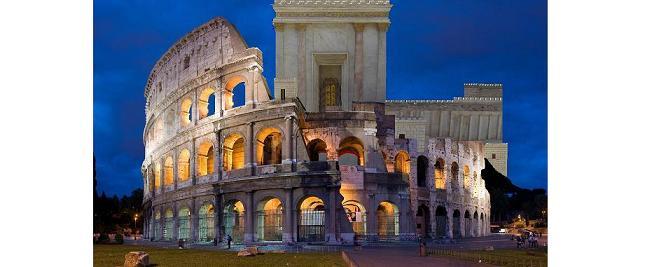 Kolosseums-Kultur Rom vs Gottes Tempel Jerusalem